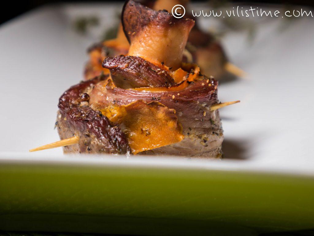 Рулца от свинско бон филе, пуешко и моркови
