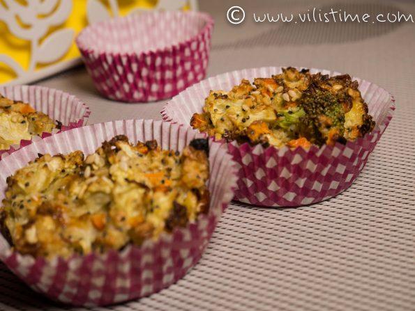 Рошави мъфини от зеленчуци и овесени ядки