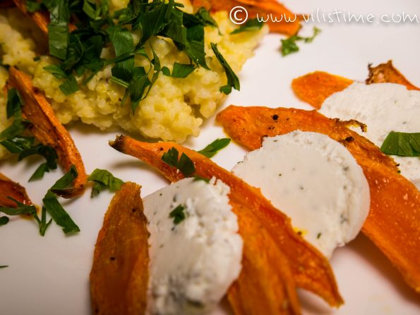 Millet salad with baked carrots and goat cheese