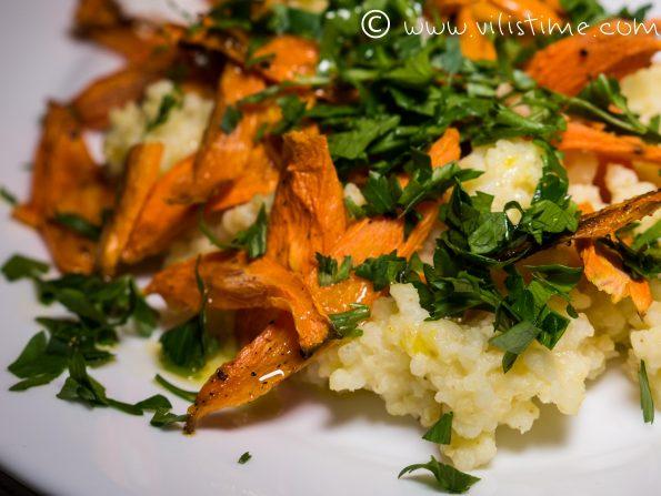 Салата от просо, печени моркови и козе сирене с билки