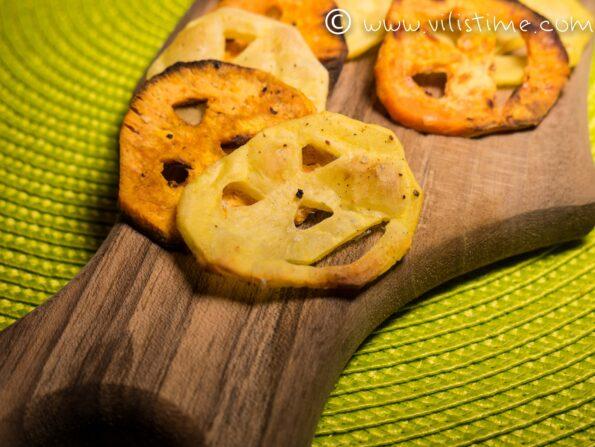 Здравословен Хелоуински чипс на фурна