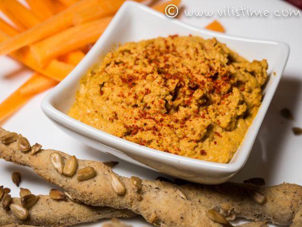 Домашен хумус с хрупкави оризови пръчици