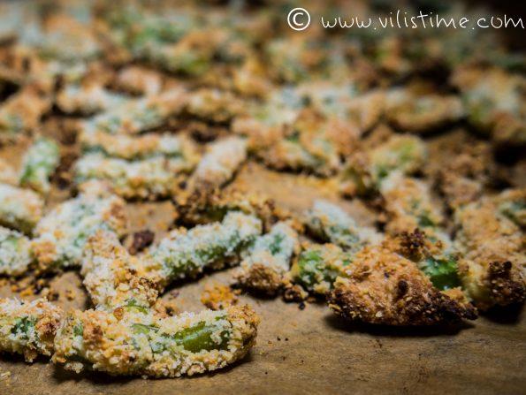 Зелен фасул с пармезан и бадемово брашно