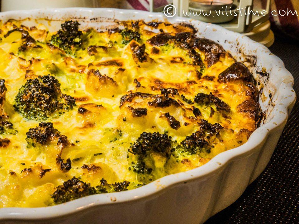 Запеканка от карфиол и броколи със сметана и яйца