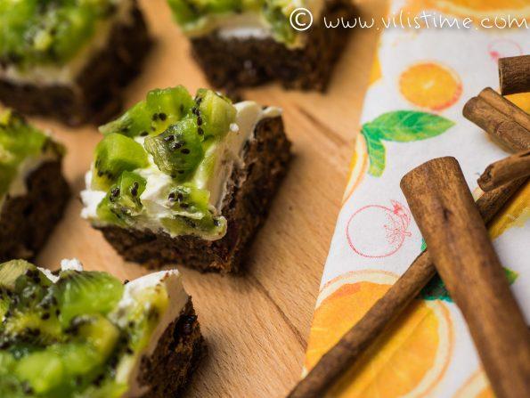 Мини пасти без брашно с киви и крема сирене
