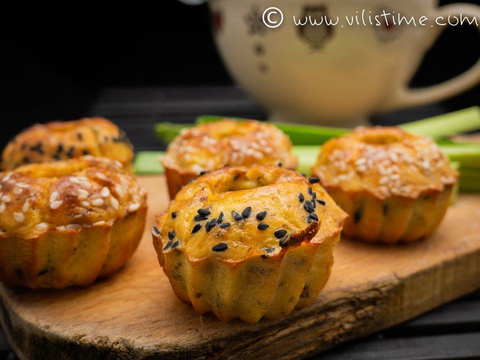 Солени мъфини с маслини, сирене и праз