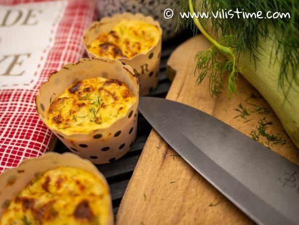 Мъфини с тиквички, моцарела и овче сирене