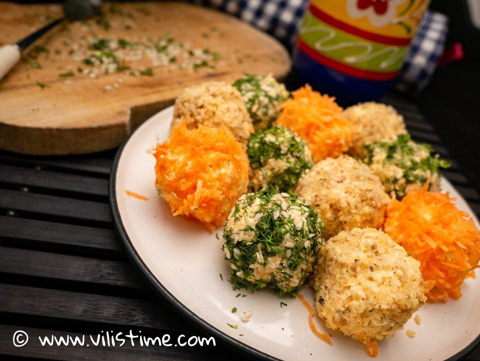 Солени бонбони от моркови и крема сирене